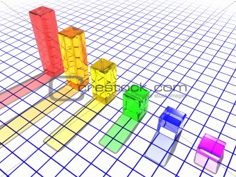 3D glass bar chart