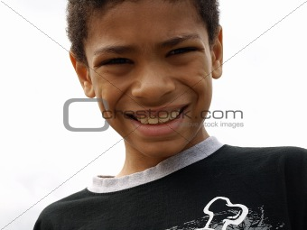 African American boy smiling