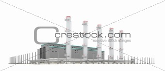 factory with pipes over white