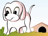 puppy in front of kennel