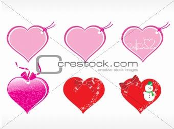 beautiful heart design vector tags