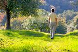 Woman walking in a autumn landscape