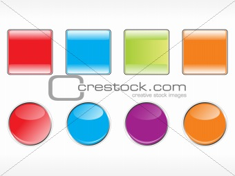 blank shiny sticker vector in red, blue, green, orange and purple