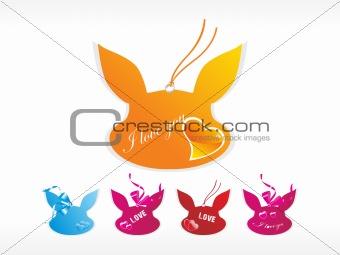 five cat design tags in diffrent colour