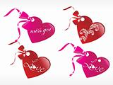 romantic tags with ribbon in red and brown, vector