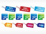 set of colorful dscount tag vector