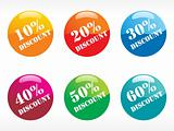 six rounded glossy tags for discount