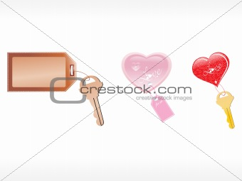 three vector tags with key, illustration