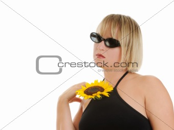 portrait with sunflower