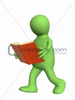 3d puppet, reading the book on the move