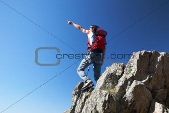 Climber pointing