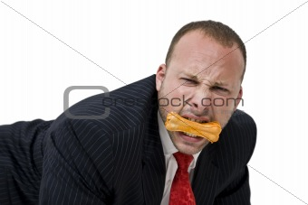 male with dog biscuit