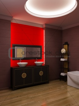 Asian style bathroom interior