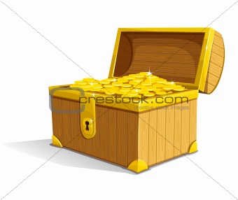 vector old wooden box with gold money