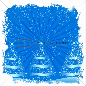 Grunge christmas tree background vector