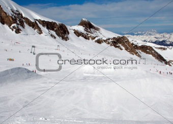 Skiers in Swiss Alps