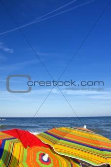 Beach umbrella at a tropical island