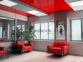 modern offise in red