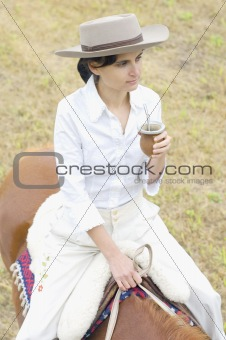 Argentinean Gaucha on her Horse