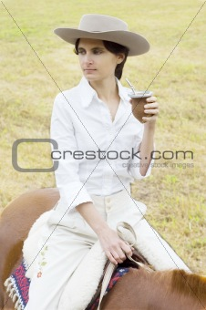 Argentinean Gaucha on her Horse