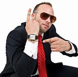man pointing towards watch