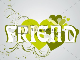 abstract vector friendship day series with floral in green