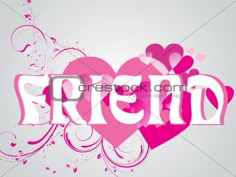 abstract vector friendship day series with floral in pink