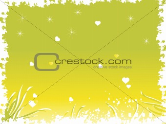 grunge frame with heart and stars in green