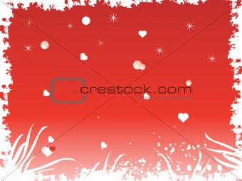 grunge frame with heart and stars in red