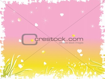 grunge frame with heart and stars, wallpaper