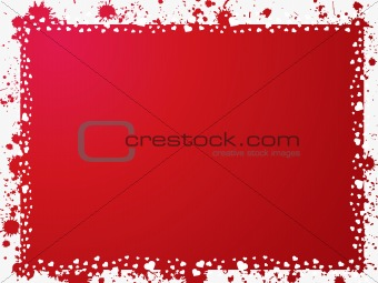 grunge frame with heart son red background