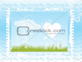 grungy frame of  hearts and cloud, vector
