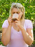 woman drinks tea
