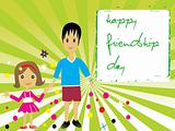 friendship banner of two friends, vector illustration