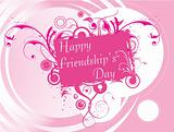 friendship day floral frame in pink, wallpaper