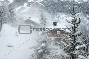 Ski resort at snow storm