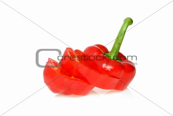 Sliced red sweet pepper