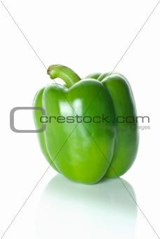 Single green sweet pepper
