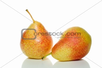 Pair of spotty yellow-red pears