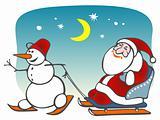 santa and snowball