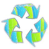 Cool aged washed out recycle symbol