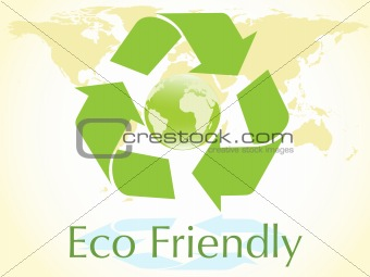 vector blue globe with green recycle sign