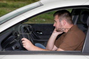 casual man in car