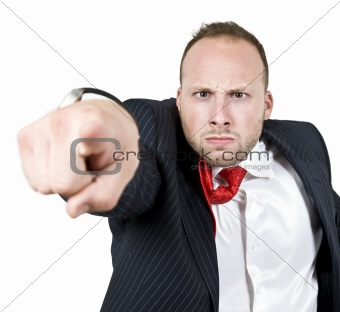businessman giving warning