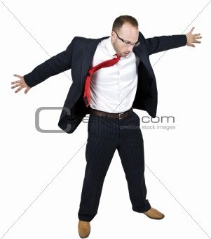 man open his arms