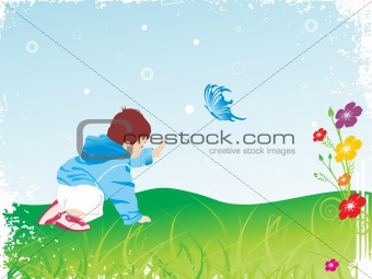 beautiful kid playing in the garden_1