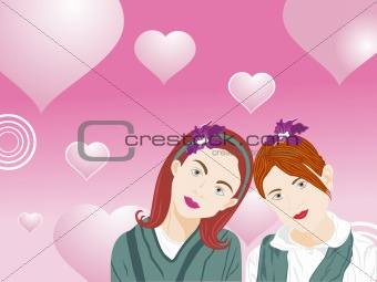 beautifull illustration of two female friend_1