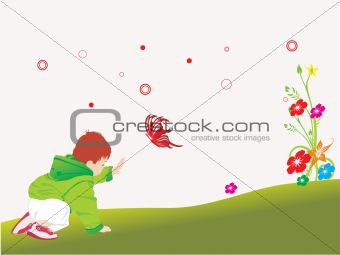 beautiful kid playing in the garden_3
