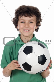 Adorable boy with ball of footboll