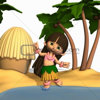 Toon Hula Girl